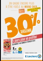 Prospectus E.Leclerc : 30% en ticket E.Leclerc avec la carte sur de nombreux produits