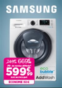 Promos et remises Pulsat : 150€ d'économie sur le lave-linge Samsung WW 90 K 6414 QW