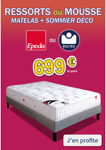 Promos et remises Olyrêve : Pack matelas+sommier BULTEX / EPEDA, 2 places dès 699€