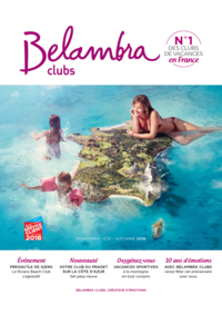 Catalogues et collections Belambra Clubs Paris 13 : Brochure printemps-été-automne 2018