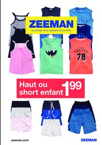Prospectus Zeeman Toulouse Bayard : Haut ou short enfant à 1.99€