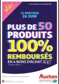 Prospectus Auchan VILLETANEUSE : Plus de 50 produits 100% remboursés en 4 bons d'achat