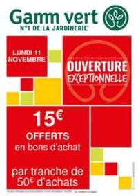 Services et infos pratiques Gamm vert BRIE COMTE ROBERT : Ouverture Exceptionnelle