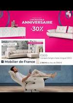 Prospectus Mobilier de France : Anniversaire -30%